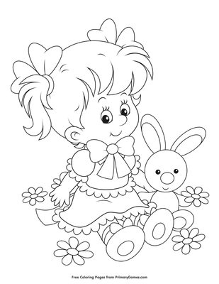 Girl With Bunny Toy Coloring Page Printable Easter
