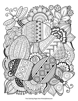Zentangle Easter Eggs Coloring Page | Printable Easter Coloring ...