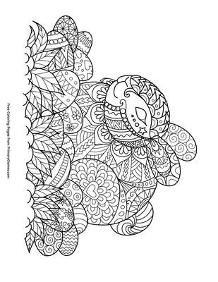 image about Zentangle Printable called Zentangle Easter Bunny and Eggs Coloring Web page Printable