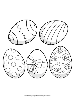 5 Easter Eggs Coloring Page | Printable Easter Coloring ...
