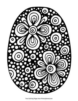 Easter Egg with Flower Pattern Coloring Page • Free ...