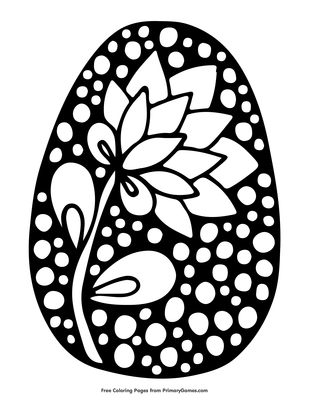Easter Egg With Flower Design Coloring Page Free Printable Pdf From Primarygames