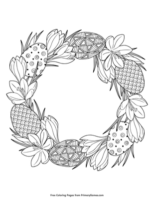 Easter Wreath Coloring Page Free Printable Pdf From Primarygames