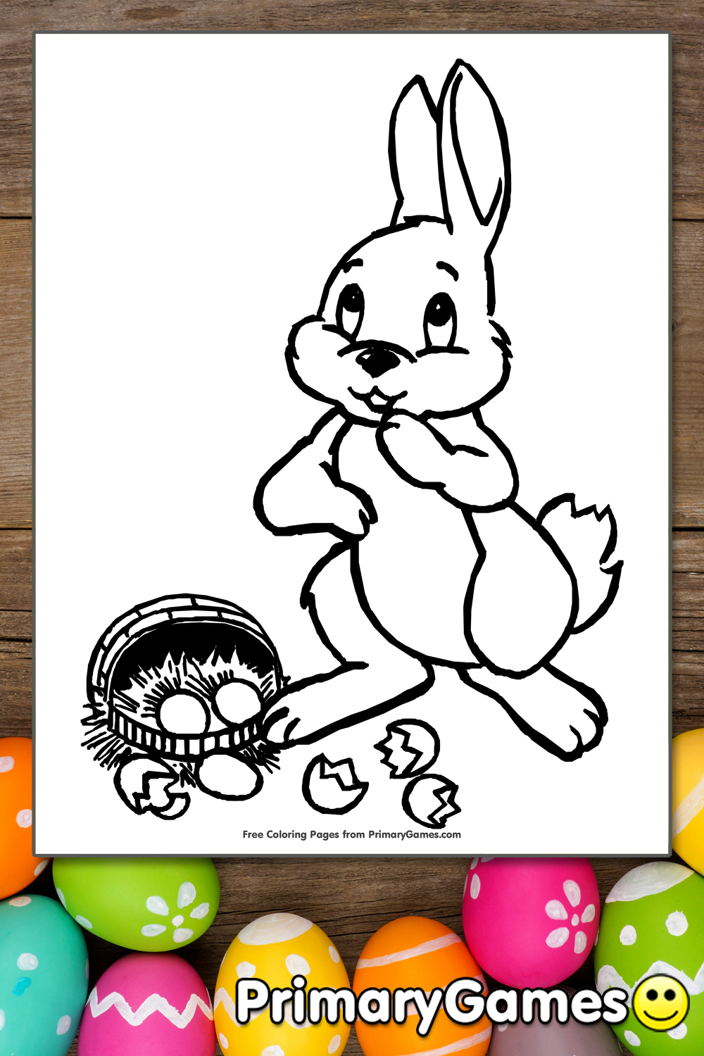Easter Coloring Page Cute Bunny