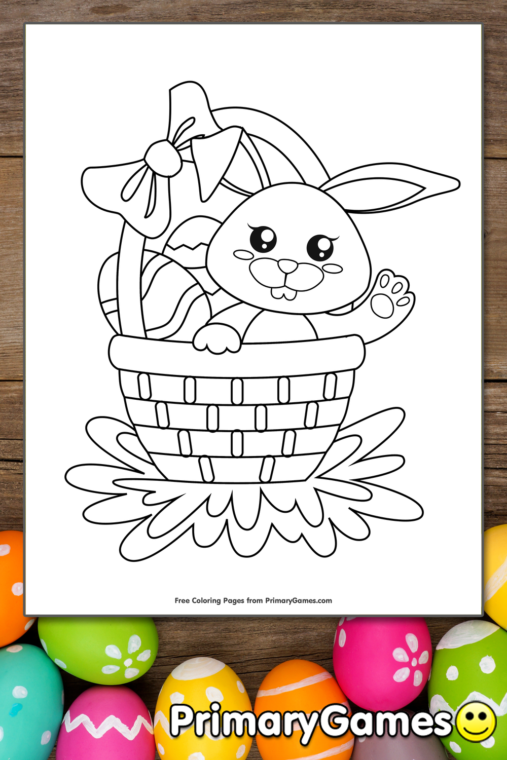 Easter Basket With Eggs And Bunny Coloring Page