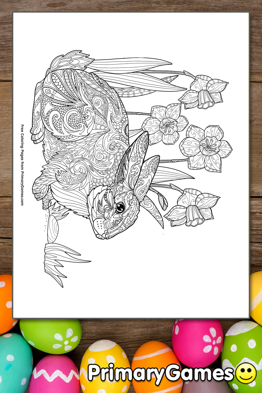 Zentangle Rabbit and Daffodils Coloring Page Printable