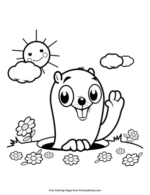 Groundhog In The Sunshine Coloring Page • FREE Printable PDF From