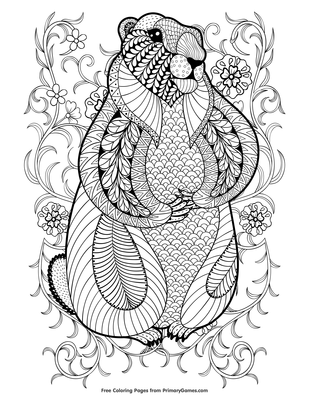Zentangle Groundhog Coloring Page • FREE Printable PDF from ...