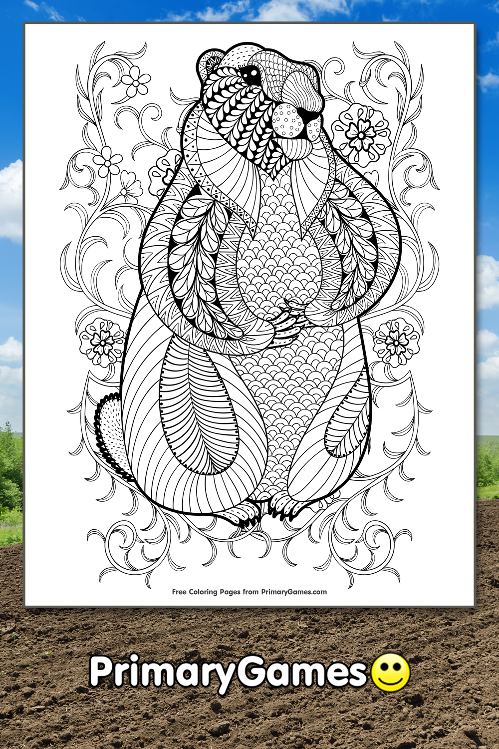 zentangle groundhog - Groundhog Day Coloring Pages