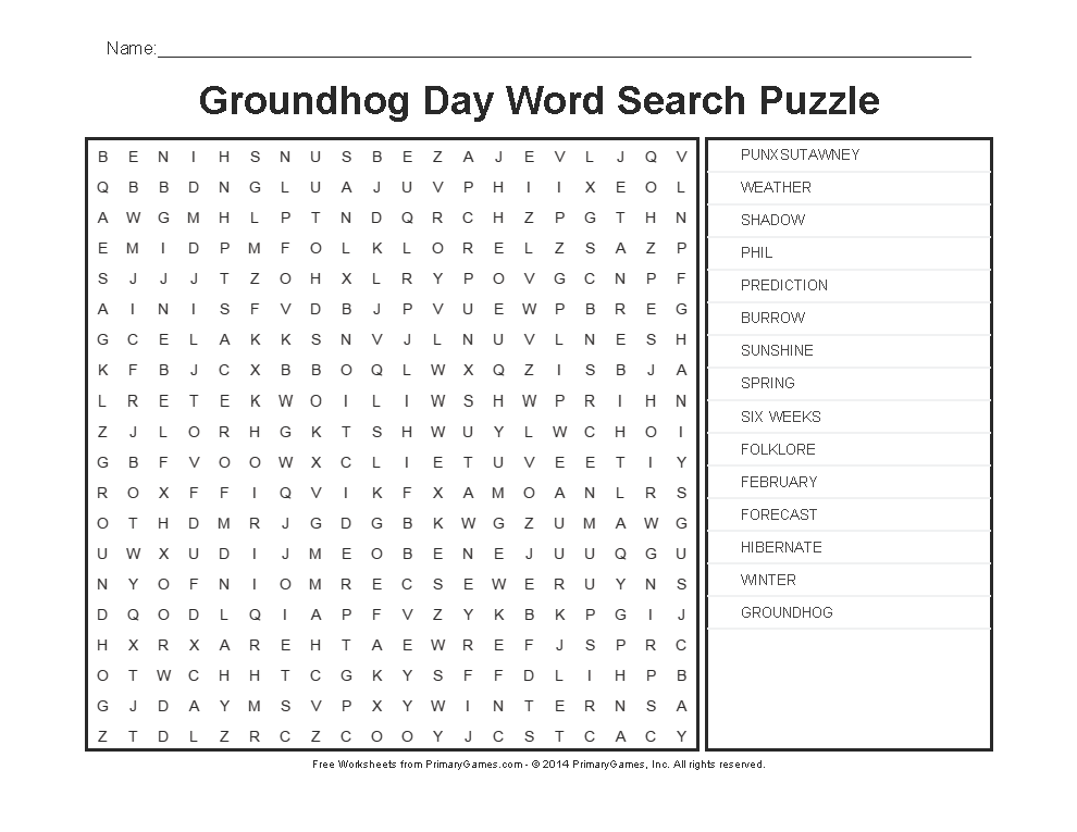 Groundhog Day Worksheets Groundhog Day Word Search Puzzle – Groundhog Day Math Worksheets
