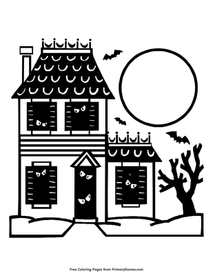 Haunted House Coloring Page Free Printable Pdf From Primarygames