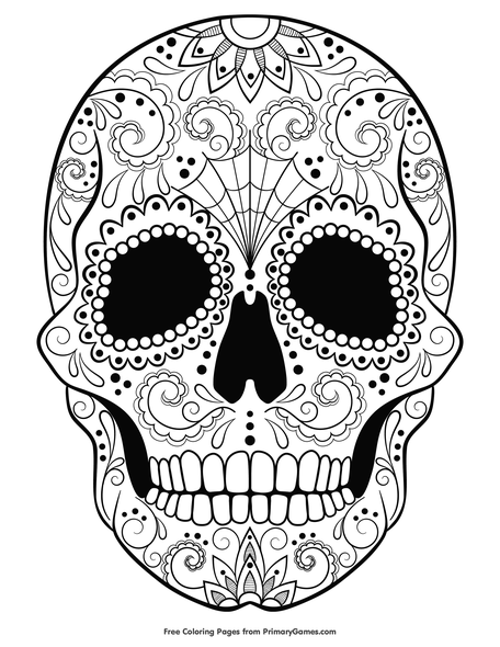 - Sugar Skull Coloring Page • FREE Printable PDF From PrimaryGames