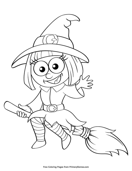 Cute Witch Coloring Page | Printable Halloween Coloring eBook ...