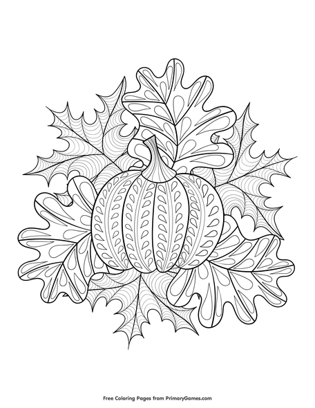 - Pumpkin And Fall Leaves Coloring Page • FREE Printable PDF From PrimaryGames