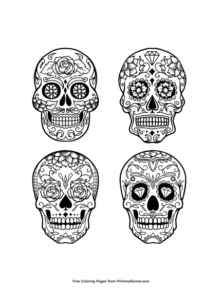 Collection Of Sugar Skulls Coloring Page • FREE Printable PDF From  PrimaryGames