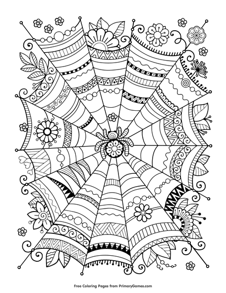 Zentangle Spider Web Coloring Page | Printable Halloween Coloring ...