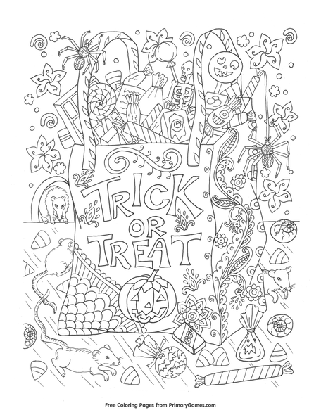 Trick Or Treat Bag Coloring Page Free Printable Coloring Books