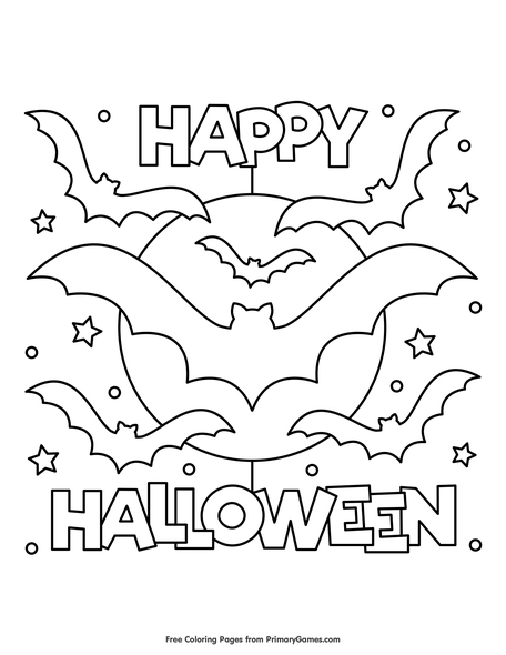 Happy Halloween Coloring Page • FREE Printable PDF From PrimaryGames