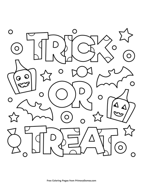Trick Or Treat Coloring Page Free Printable Coloring Books
