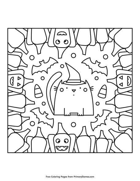 Halloween Coloring Page. Cat In A Hat, Halloween Pumpkin, Flying ... | 590x456