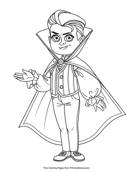 Boy In Vampire Costume Coloring Page Free Printable Pdf From Primarygames