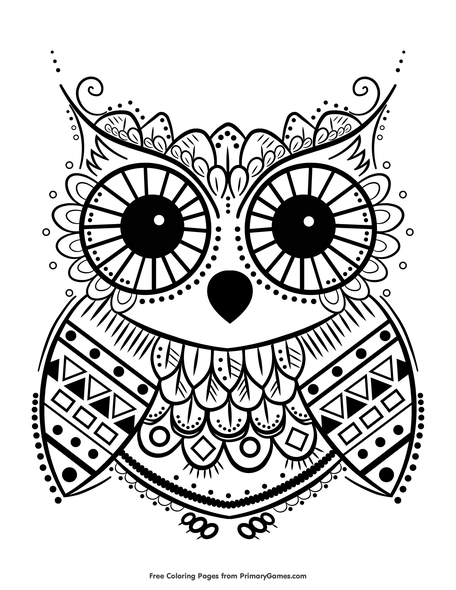 Cute Owl Coloring Page • FREE Printable PDF From PrimaryGames