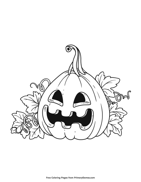 Happy Jack-O-Lantern Coloring Page • FREE Printable PDF From PrimaryGames