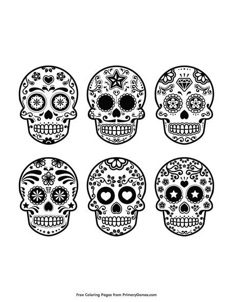 - 6 Sugar Skulls Coloring Page • FREE Printable PDF From PrimaryGames