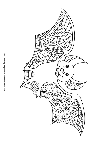 Zentangle Bat Coloring Page Free Printable Pdf From
