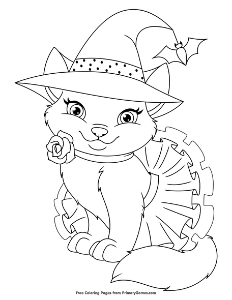 Cute Halloween Cat Coloring Page Free Printable Coloring Books