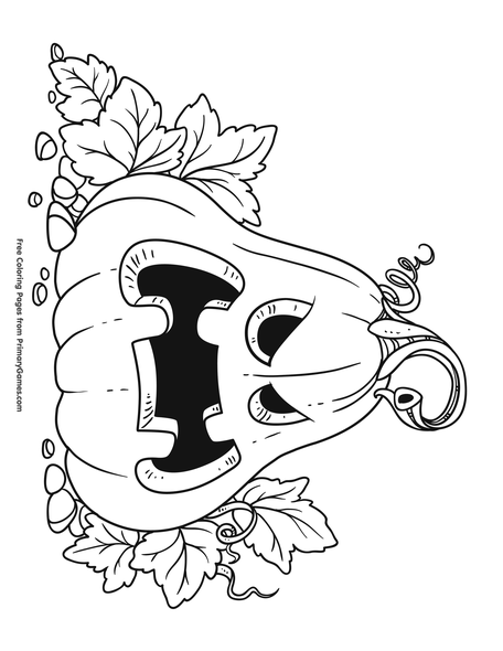 Scary Pumpkin Coloring Page Free Printable Coloring Books