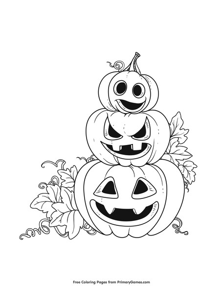 Stacked Jack-O-Lanterns Coloring Page • FREE Printable PDF From PrimaryGames