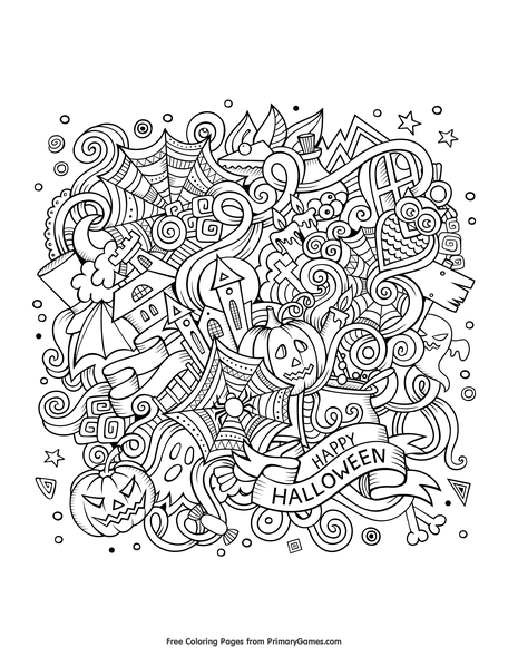 Halloween Doodle Coloring Page • FREE Printable PDF From PrimaryGames