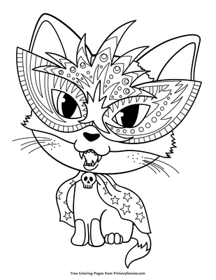 Black Cat Halloween Coloring Page - Free Coloring Pages Online   400x309