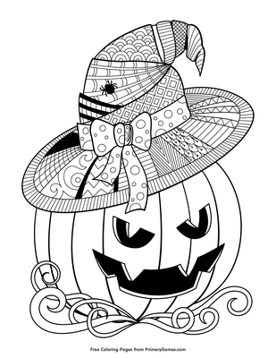 Witch Hat Jack O Lantern Coloring Page Free Printable