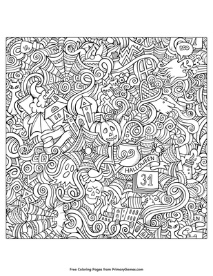 Halloween Zentangle Background Coloring Page Free Printable Pdf From Primarygames