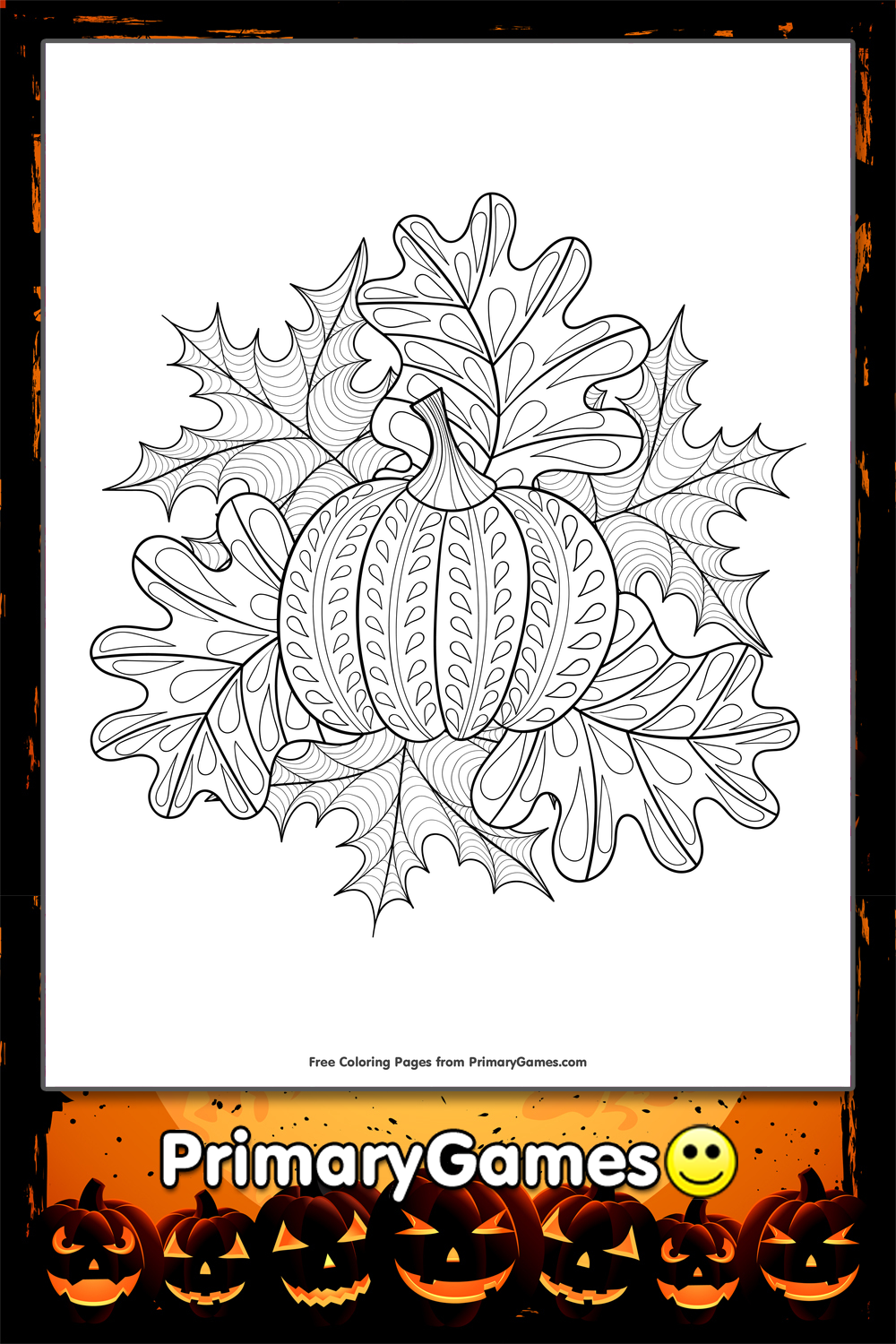 pumpkin and leaves coloring pages - photo#27