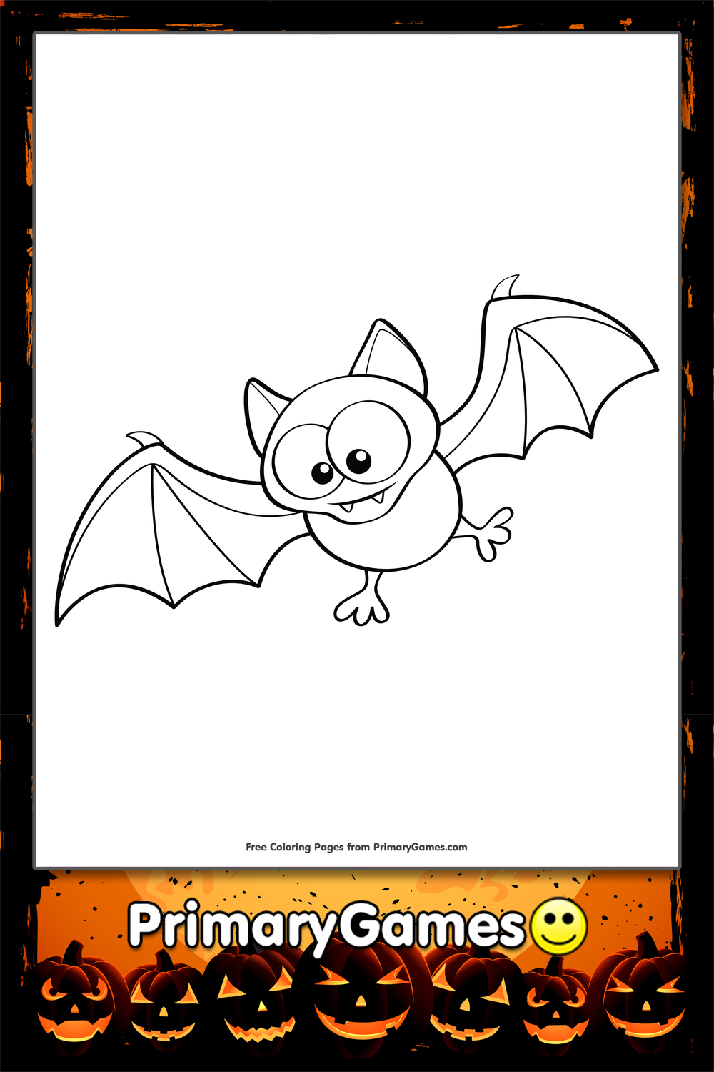 Halloween Coloring Page Cute Bat Primarygames Play Free Online Games
