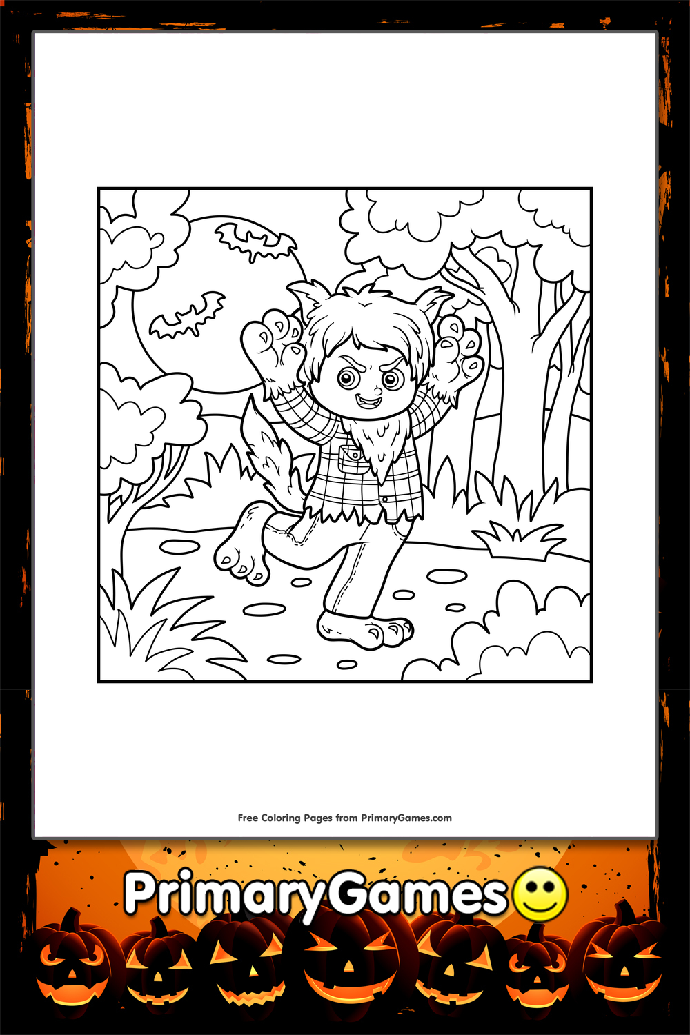halloween coloring page werewolf in a forest