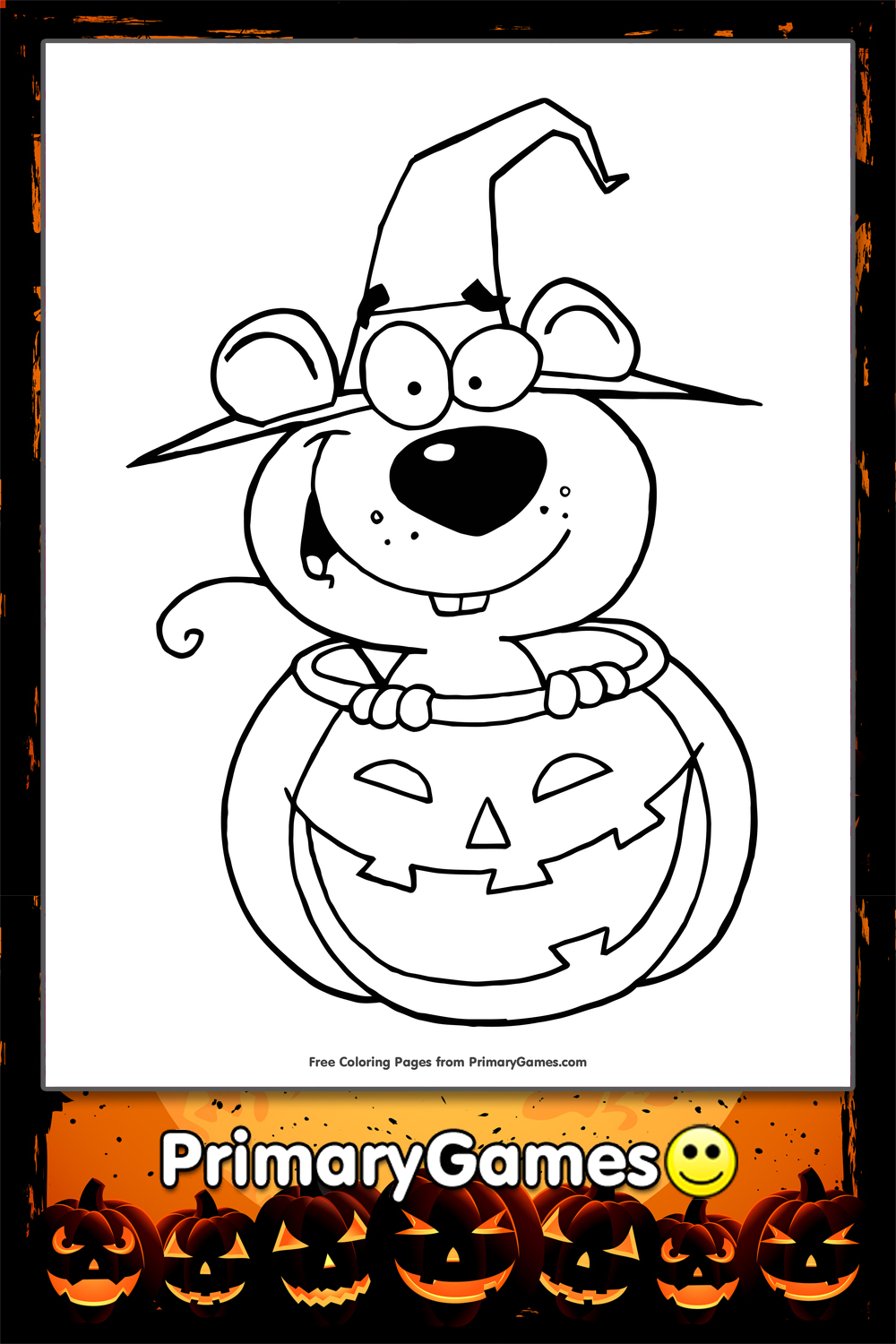 Mouse in Pumpkin Coloring Page | Printable Halloween ...