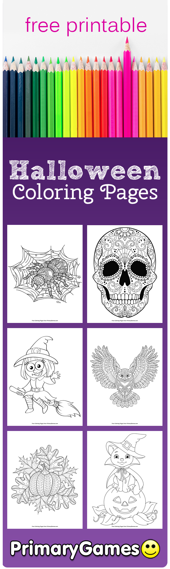 halloween coloring pages primarygames play free online games