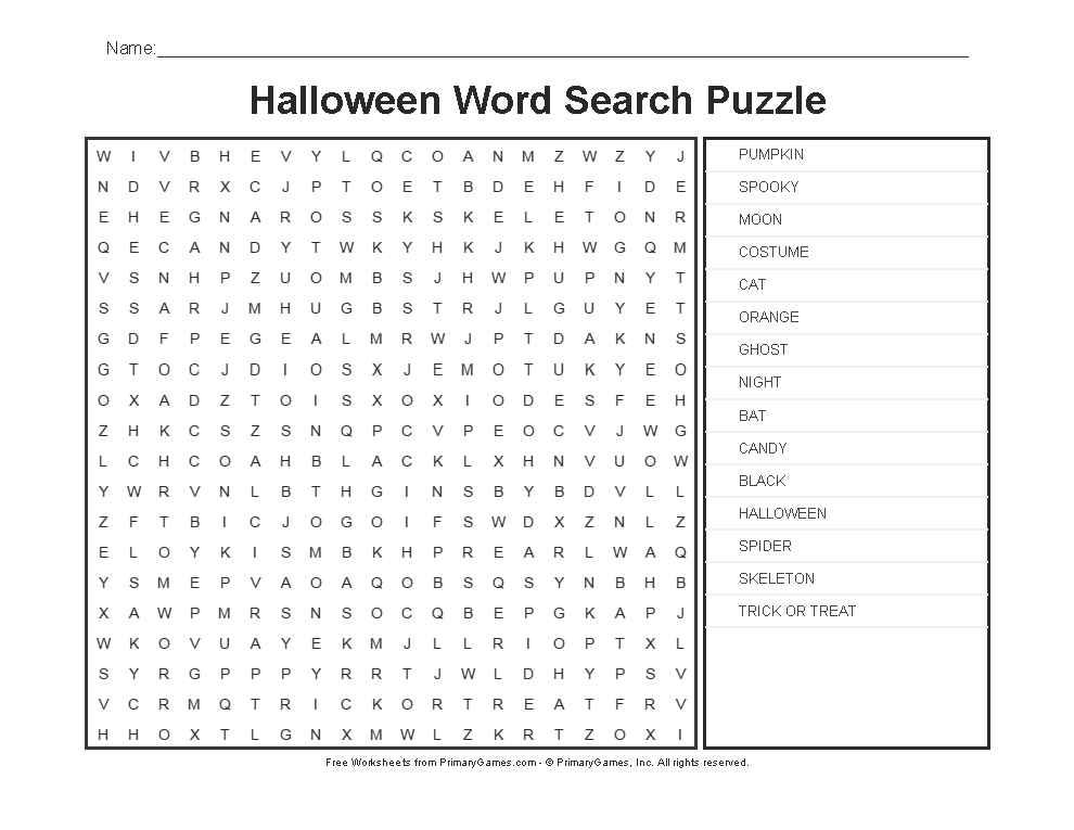 photo regarding Halloween Word Search Puzzle Printable identify Halloween Worksheets: Halloween Term Look Puzzle