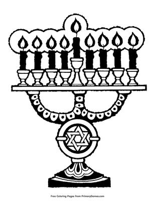 Happy Hanukkah Menorah Coloring Page | crayola.com | 400x309