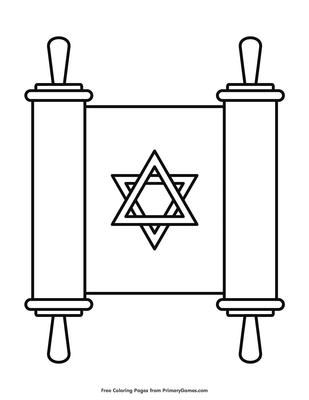 Torah Scroll Coloring Page Free