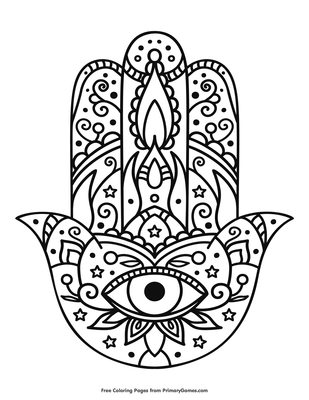 photo about Hand Printable named Hamsa Hand Coloring Webpage Printable Hanukkah Coloring e book