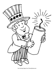 Uncle Sam Holding Fireworks