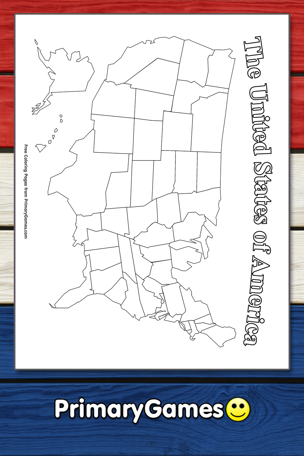 Map of the United States of America Coloring Page