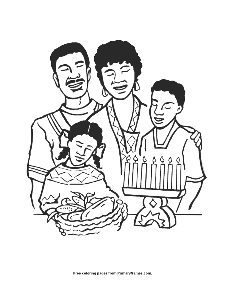 Family Celebrating Kwanzaa Coloring Page Printable