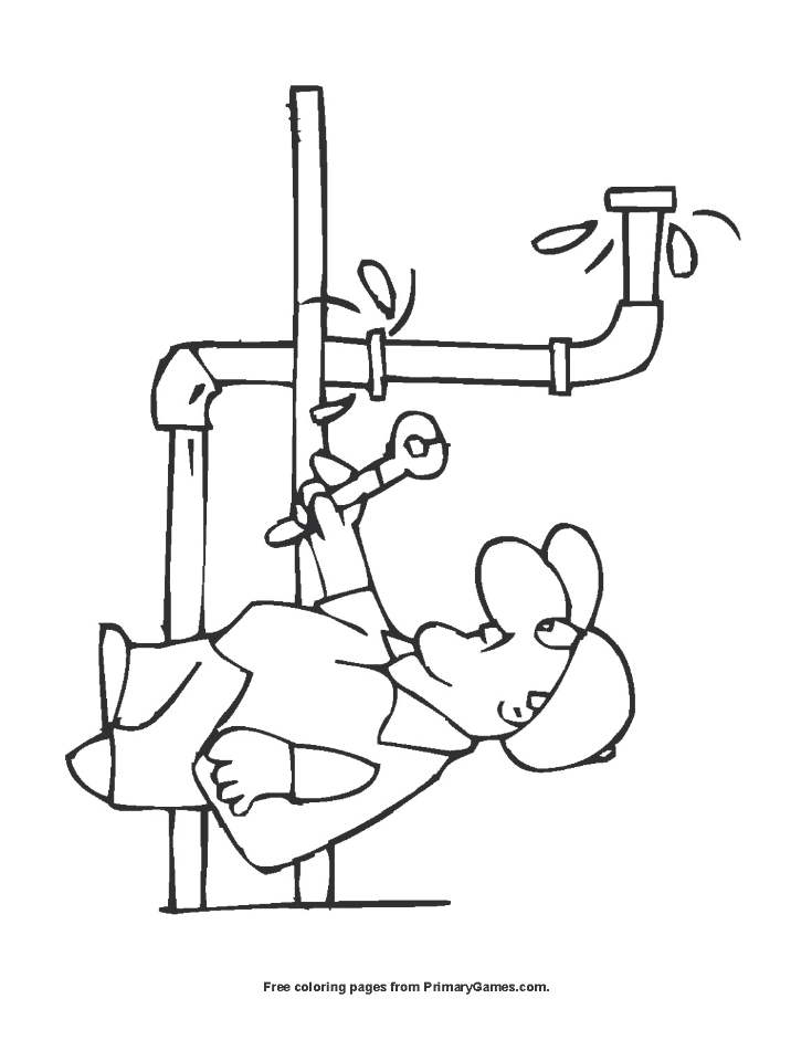 plumber coloring page printable labor day coloring ebook