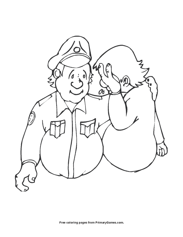 Community Helpers Coloring Pages Police. printable community ... | 951x735